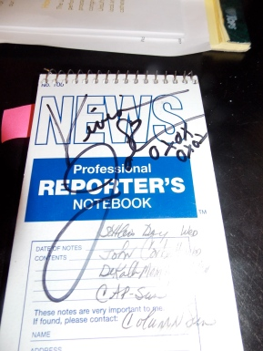 Corbett signed notebook